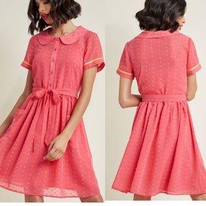 ModCloth polka dot / speckled button up dress